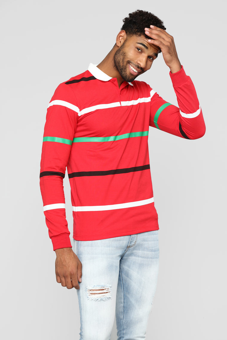 Charlie Long Sleeve Polo - Red