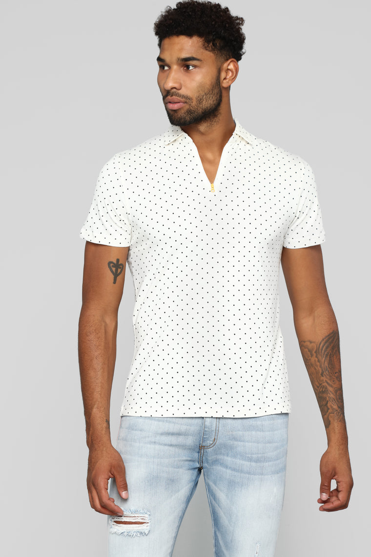 Dots On Dots Short Sleeve Polo - White