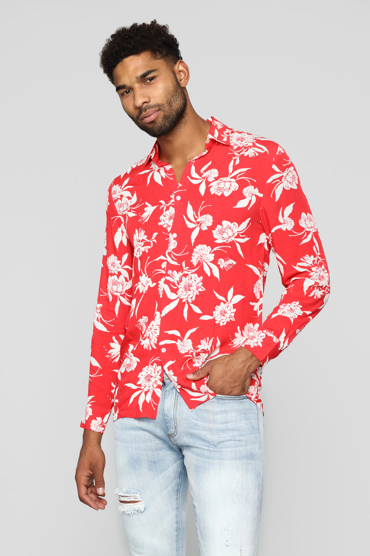 Floral Haze Long Sleeve Woven Top - Red/white