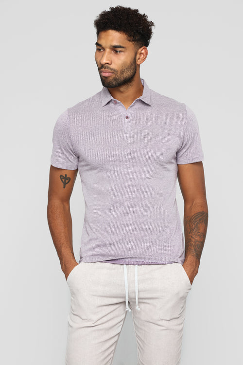 Pixelated Short Sleeve Polo - Purple