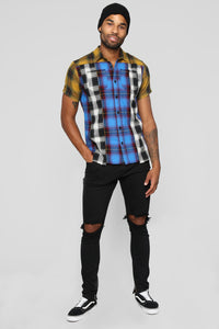 Different Kind Short Sleeve Flannel Top - Multi