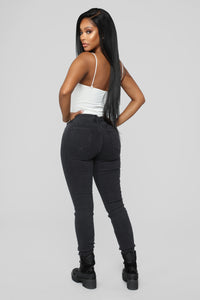 Slow And Steady High Rise Jeans - Black