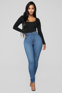 Classic High Waist Skinny Jeans - Medium Blue Wash Angle 10