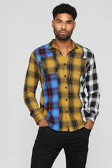 Seeing Double Long Sleeve Flannel Top   Multi by Fashion Nova