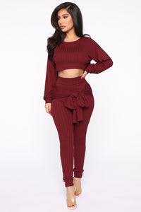 Just My Chill Tie Front Set - Burgundy Angle 1