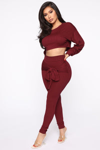 Just My Chill Tie Front Set - Burgundy Angle 3