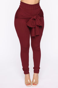 Just My Chill Tie Front Set - Burgundy Angle 6