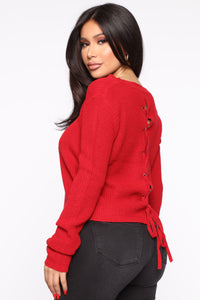Lilly Lace Up Sweater - Red Angle 1