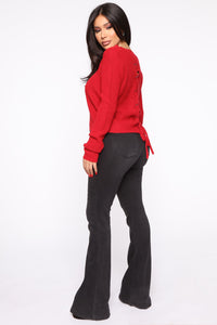 Lilly Lace Up Sweater - Red Angle 5