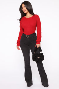 Lilly Lace Up Sweater - Red Angle 2