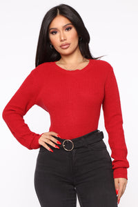Lilly Lace Up Sweater - Red Angle 3