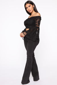 Festie Bestie Bell Sleeve Top - Black
