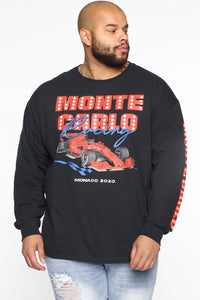 Monte Carlo Racing Long Sleeve Tee - Black/Red Angle 6