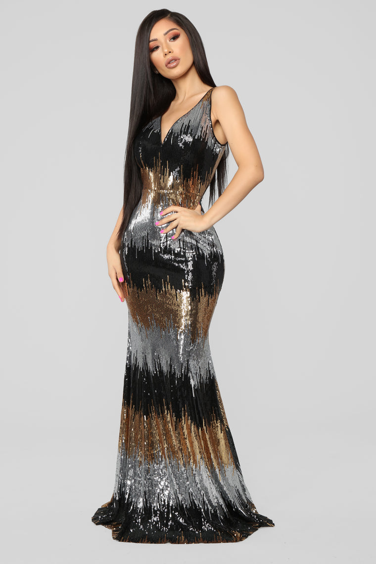 Light The Room Sequin Mermaid Gown - Black/Multi