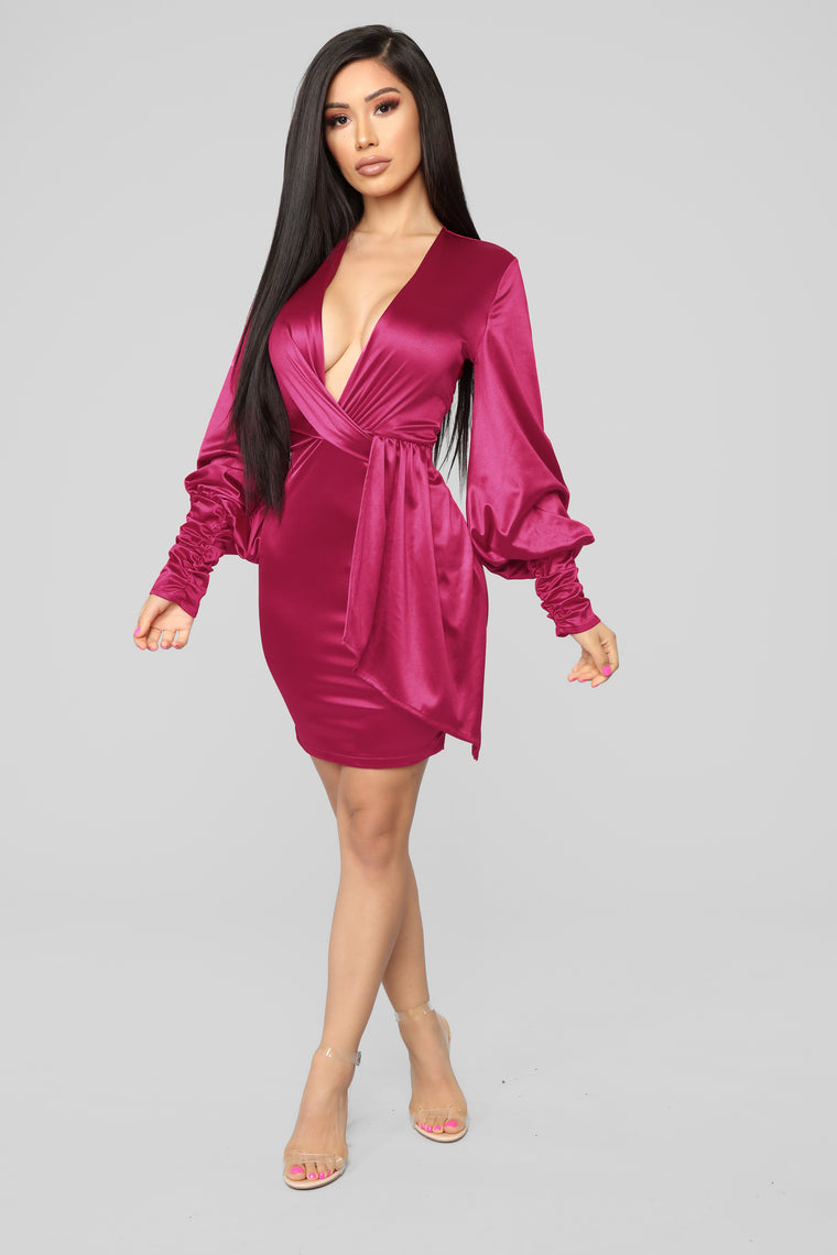 Give Me Your Attention Surplice Dress - Fuchsia