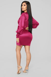 Give Me Your Attention Surplice Dress - Fuchsia Angle 4