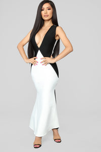 Premiere On Beverly Bandage Dress - Black/White Angle 1