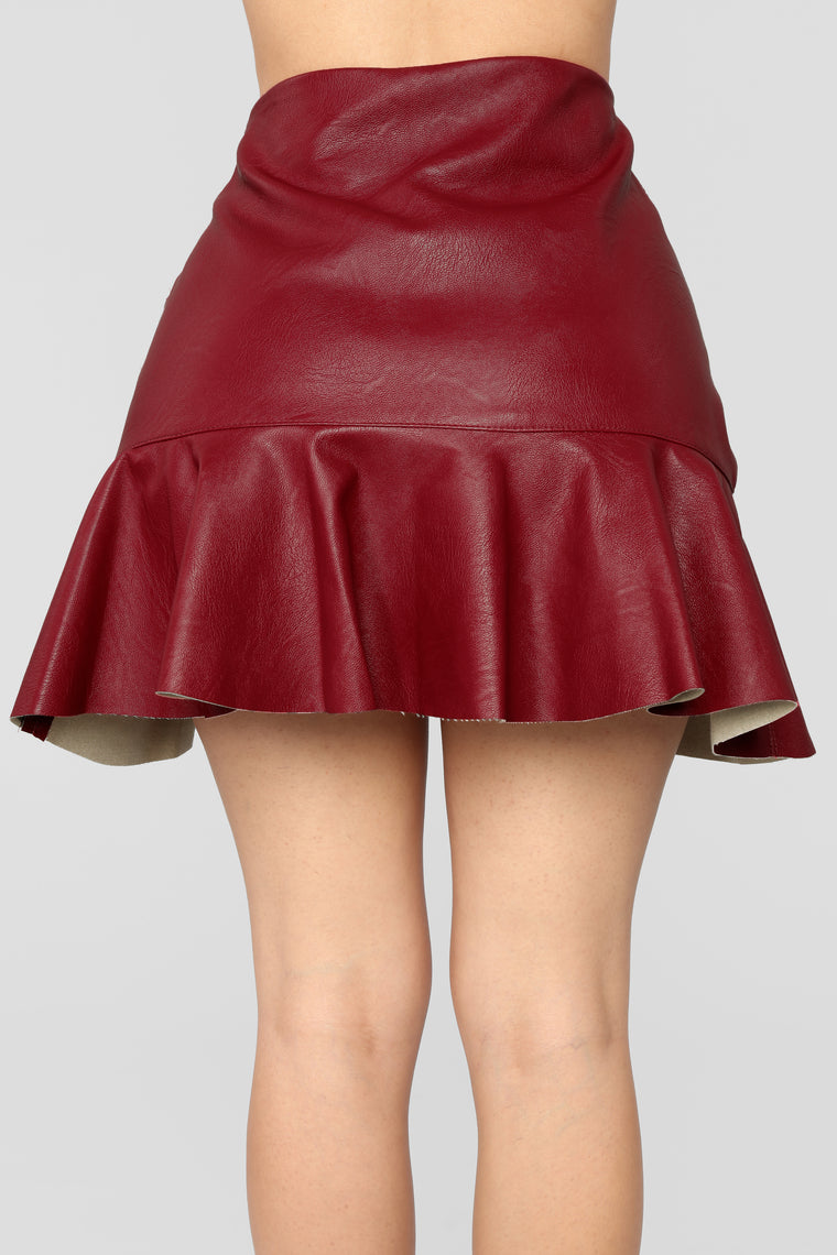 Don't Speak Faux Leather Flounce Skirt - Red
