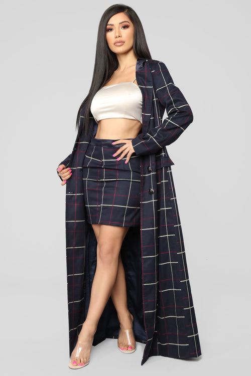 Savage Mood Plaid Trench Coat Set - Navy/Multi