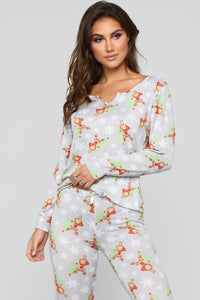 Holly Jolly PJ Set - Grey