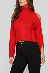 Out In The Cold Sweater   Red by Fashion Nova