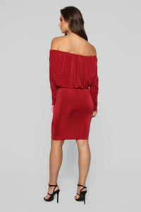 The Only One Off Shoulder Dress - Wine