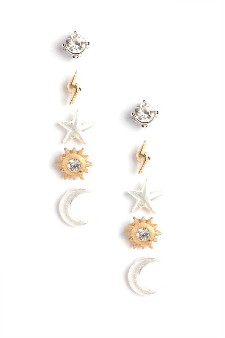 Head In Space Stud Earrings - Gold