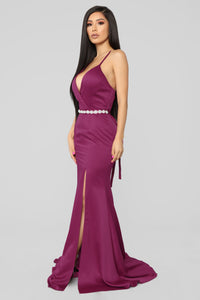 Leave With A Bang Satin Gown - Berry