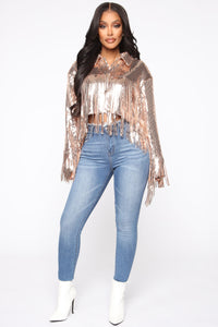 Lost In Dreams Sequin Jacket - Rose Gold