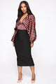 No Talking Just Working Striped Blouse - Rose/Combo