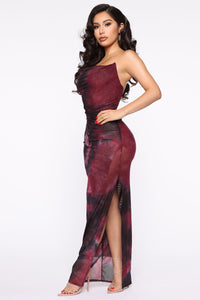 Made Of Soul Tie Dye Maxi Dress - Black/Burgundy Angle 3