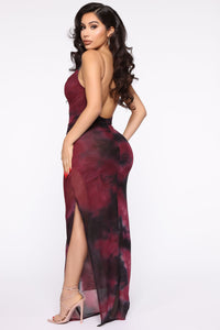 Made Of Soul Tie Dye Maxi Dress - Black/Burgundy Angle 4