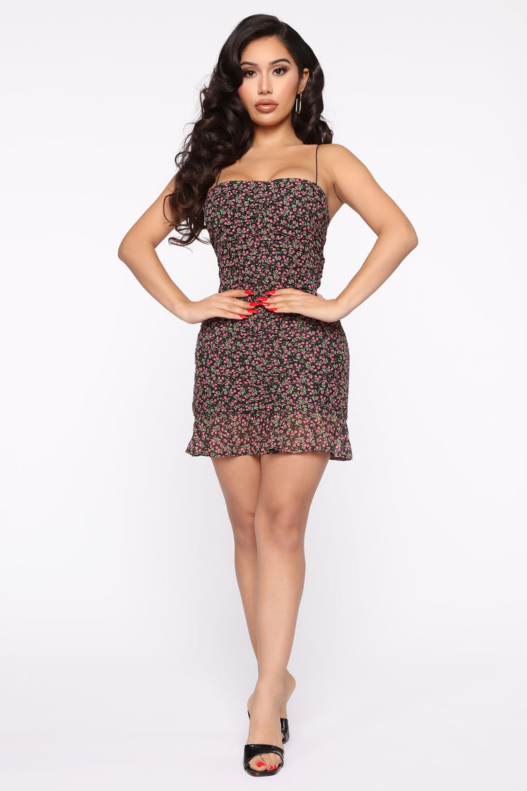 Rosey Affection Floral Mini Dress - Black