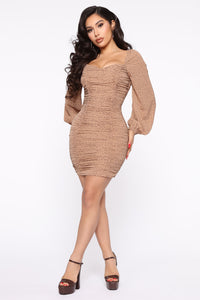 Be Back Soon Mini Dress - Mocha