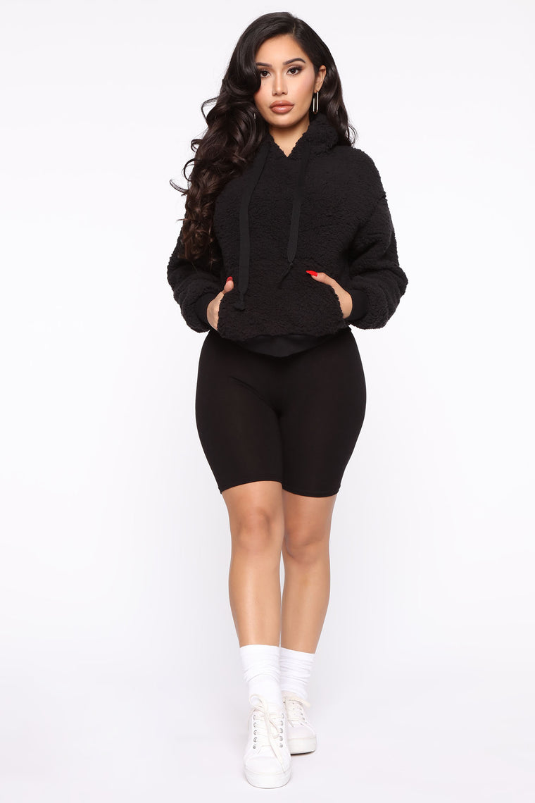 Oh So Cozy Sherpa Pullover - Black