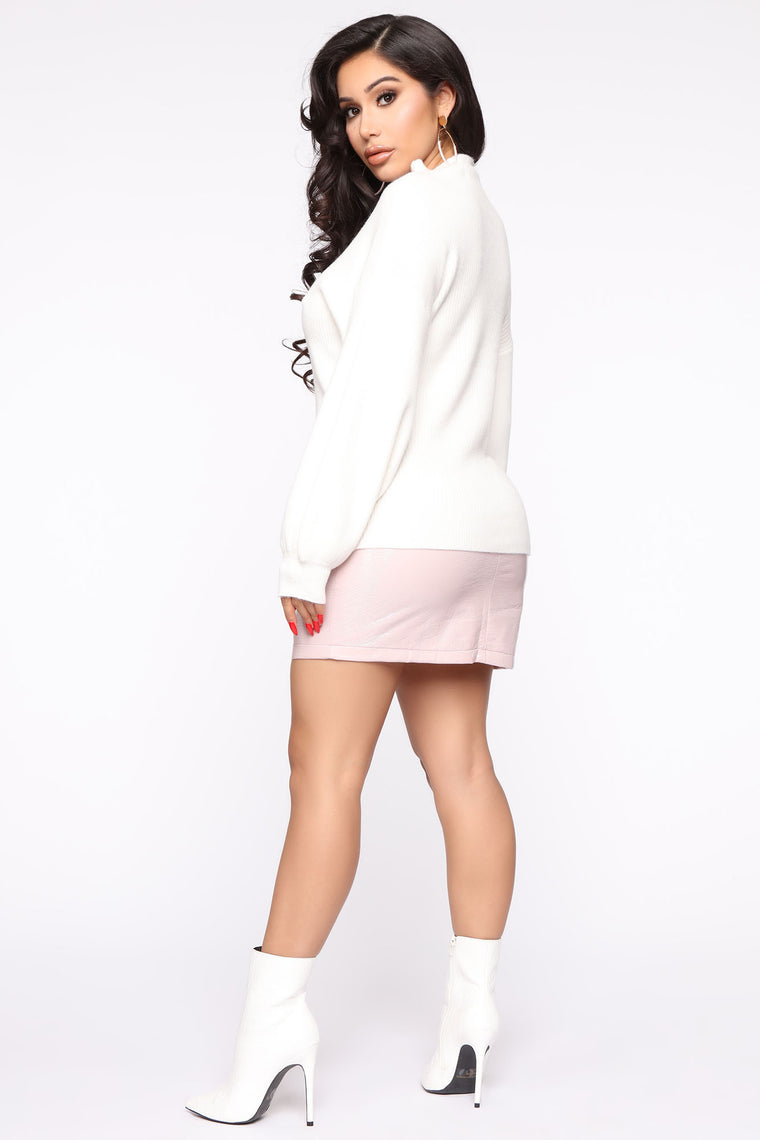 Not Speaking To You Ribbed Sweater - White