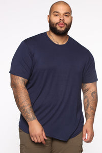Essential Longline Scoop Tee - Navy Angle 6