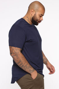 Essential Longline Scoop Tee - Navy Angle 8