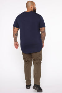 Essential Longline Scoop Tee - Navy Angle 10