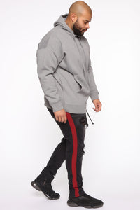 Dom Side Zip Hoodie - Heather Grey Angle 9