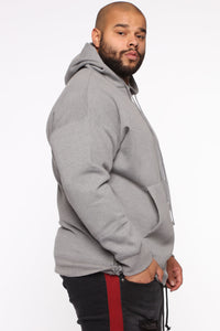 Dom Side Zip Hoodie - Heather Grey Angle 8
