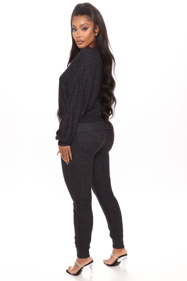 Always Up To No Good Jogger Set - Heather Black