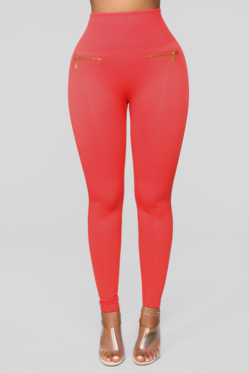 Warm As Can Be Fleece Lined Leggings - Coral