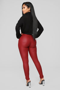 Double Dare Faux Leather Pants - Red