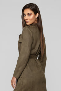 Laurent Belted Trench Coat - Olive