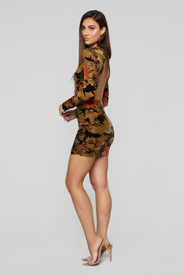 It Happened One Night Floral Dress - Brown/Combo
