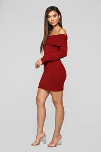 You Read My Mind Sweater Dress - Burgundy