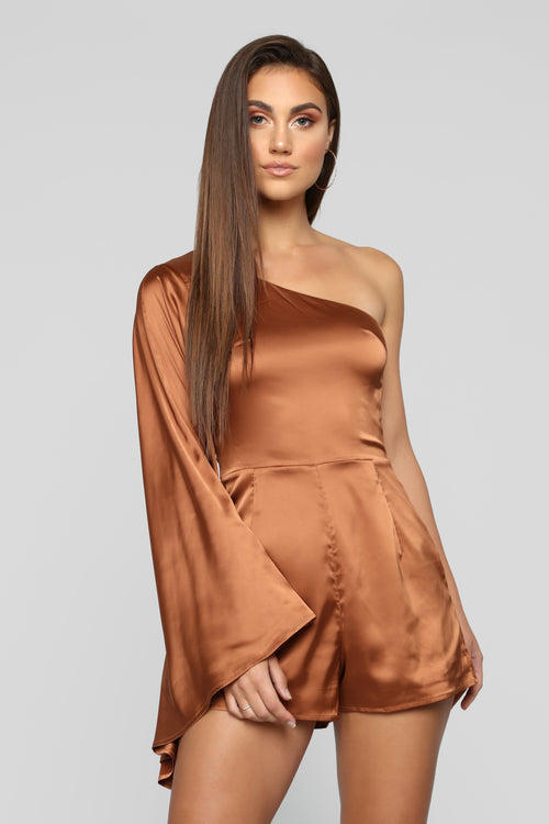 Catch My Better Side Romper - Bronze