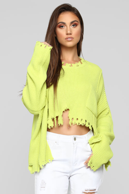 Not My Day Sweater - Lime Green