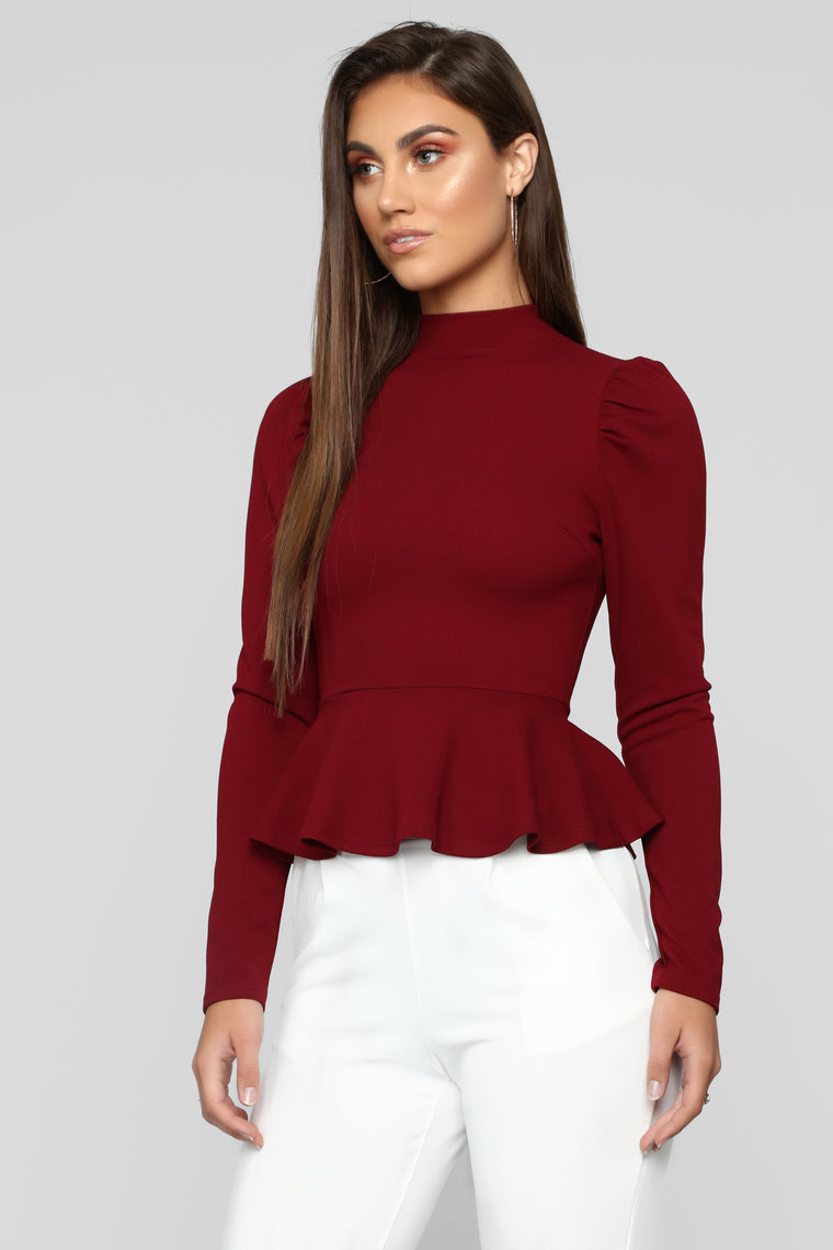 Just Roll With It Peplum Top - Burgundy